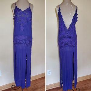Vintage Free People Slit Purple Lace Maxi Dress